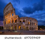 the colosseum or flavian... | Shutterstock . vector #697059409
