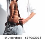 portrait of handsome fashion... | Shutterstock . vector #697063015
