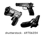 three pistols - stock vector