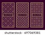 golden geometric frames... | Shutterstock .eps vector #697069381