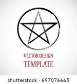 pagan symbol in grunge  old... | Shutterstock .eps vector #697076665
