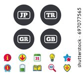 language icons. jp  tr  gr and... | Shutterstock .eps vector #697077565