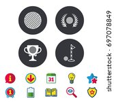 golf ball icons. laurel wreath... | Shutterstock .eps vector #697078849