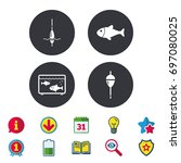 fishing icons. fish with... | Shutterstock .eps vector #697080025
