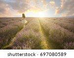 amazing lavender field... | Shutterstock . vector #697080589