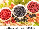 fresh and colorful berries... | Shutterstock . vector #697081309