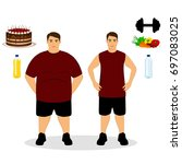 thin and fat. proper nutrition. ... | Shutterstock . vector #697083025