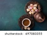 traditional turkish coffee  and ... | Shutterstock . vector #697083355