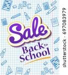 vertical poster sale back to... | Shutterstock .eps vector #697083979