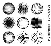 set of various black halftone... | Shutterstock .eps vector #697087501