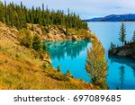 abraham lake is the most... | Shutterstock . vector #697089685