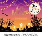 a seamless happy halloween...   Shutterstock .eps vector #697091221