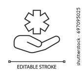 open hand with star of life... | Shutterstock .eps vector #697095025