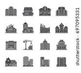 city buildings glyph icons set. ... | Shutterstock .eps vector #697095331