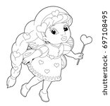cartoon coloring page of a...   Shutterstock . vector #697108495