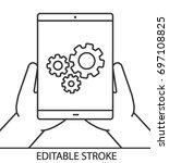 hands holding tablet computer... | Shutterstock .eps vector #697108825