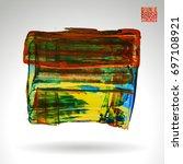 brush stroke and texture.... | Shutterstock .eps vector #697108921