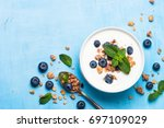 greek yogurt granola and... | Shutterstock . vector #697109029