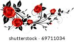 ornament with red roses. floral ...