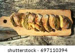 fresh bread slice and cutting... | Shutterstock . vector #697110394