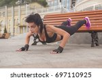 brunette slim adult sexy fit... | Shutterstock . vector #697110925