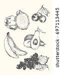 set of fruits. exotic vintage...   Shutterstock .eps vector #697113445