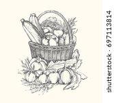 big set of vegetables. vintage... | Shutterstock .eps vector #697113814