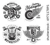 set of vintage custom... | Shutterstock .eps vector #697117891
