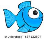 Blue Fish Isolated. Aquarium...
