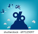 business team jumping into... | Shutterstock .eps vector #697125097