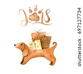 watercolor dog cute... | Shutterstock . vector #697127734