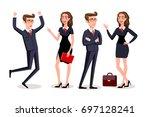 raster copy business people... | Shutterstock . vector #697128241