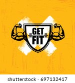 get fit. workout and fitness... | Shutterstock .eps vector #697132417