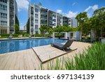 modern residential buildings... | Shutterstock . vector #697134139