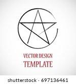 pagan symbol in grunge  old... | Shutterstock .eps vector #697136461