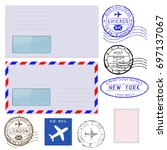 collection of postal elements... | Shutterstock . vector #697137067
