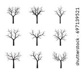 set of black trees without... | Shutterstock .eps vector #697139521