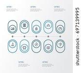 traveling outline icons set.... | Shutterstock .eps vector #697139995