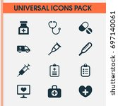 antibiotic icons set.... | Shutterstock .eps vector #697140061
