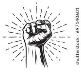 monochrome illustration of fist ... | Shutterstock .eps vector #697140601