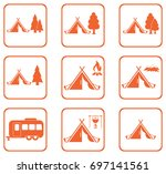 set of stylized icons of... | Shutterstock .eps vector #697141561