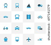transport colorful icons set.... | Shutterstock .eps vector #697141579