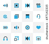 multimedia colorful icons set.... | Shutterstock .eps vector #697142335