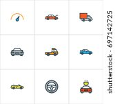 car colorful outline icons set. ... | Shutterstock .eps vector #697142725