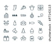 holiday icons set. collection... | Shutterstock .eps vector #697143115