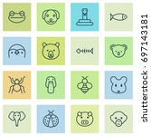 zoo icons set. collection of... | Shutterstock .eps vector #697143181
