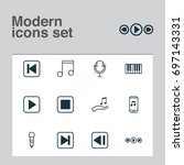 audio icons set. collection of... | Shutterstock .eps vector #697143331
