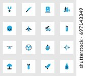 warfare colorful icons set.... | Shutterstock .eps vector #697143349