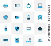 hardware colorful icons set.... | Shutterstock .eps vector #697143385