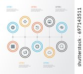 interface outline icons set.... | Shutterstock .eps vector #697143511